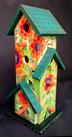 Tower Of Flowers Birdhouse An Original, Hand Painted Birdhouse