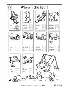 This coloring language arts worksheet lets your child practice reading comprehension skills and using common prepositions while learning about relative position.