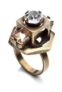 Lucas Ring by Dannijo. Oxidized brass ring with Swarovski Elements crystals.  Was £135.00  Now £67.50 at Oxygen Boutique