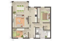Grundriss Bungalow 3 Zimmer mit Keller - Town Country Haus Bungalow 78 Town Country Haus, Floor Plans, Architecture, House Construction Plan, Floor Plan Drawing, House Floor Plans