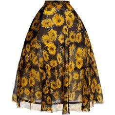 DELPOZO Sunflower Full Skirt (15.525 BRL) ❤ liked on Polyvore featuring skirts, see through skirt, brown skirt, knee length pleated skirt, pleated skirt and full pleated skirt