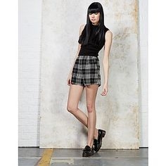 Hearts and Bows Nova Tartan Shorts - A unique streetstyle store stocking own labels Hearts & Bows + CLOAK plus Fred Perry, Carhartt, ASA, Motel and more #monochrome #tartan #shorts