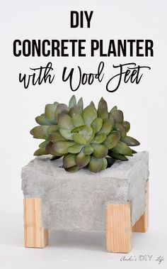 What a great twist to a regular DIY concrete planter. I am totally digging the wooden legs! Check out the step by step tutorial.