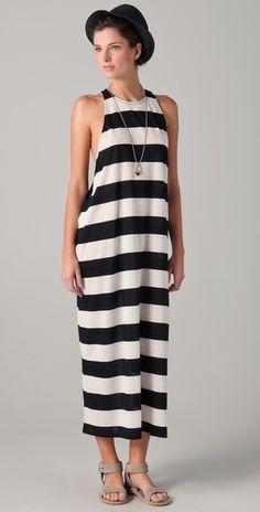 black and white striped dress. adore.