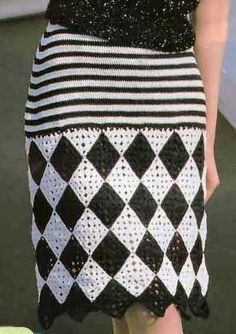 """For knitting cotton yarn will need black and white (type """"Iris"""") -. For knitting cotton yarn will need black and white (type """"Iris"""") -. Crochet Bodycon Dresses, Black Crochet Dress, Crochet Skirts, Crochet Fabric, Crochet Blouse, Crochet Clothes, Knit Crochet, Filet Crochet, Crochet Stitches"""