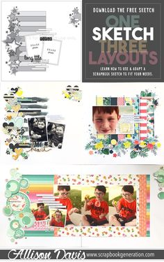 Learn how to use one sketch and get multiple looks with different variations to adapt the design to fit what you want to work with. #scrapbook #scrapbooking #scrapbooker #scrapbookideas #scrapbooklayout #scrapbooklayoutideas #scrapbooksketch #scrapbookgeneration #allisondavis
