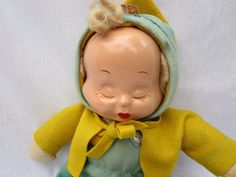 "Vintage 13"" Composition Cloth 3 Faced Trudy Doll Original Outfit 