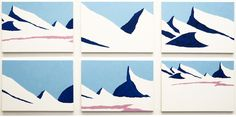 Stig Brøgger,  Snelandskab (Snow Landscape), 2013, Oil on canvas, 6 parts, each 63 x 90 cm