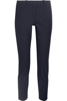 Navy stretch-gabardine Concealed hook and zip fastening at front viscose, cotton, elastane; lining: acetate, polyester Dry clean Made in the UK Stretches For Flexibility, Slim Legs, Welt Pocket, Marni, Victoria Beckham, Stella Mccartney, Joseph, Black Jeans, Sweatpants
