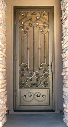ideas for screen door ideas decor wrought iron Home Door Design, Window Grill Design, Door Gate Design, Exterior Doors, Entry Doors, Porta Colonial, Iron Front Door, Wrought Iron Doors, Steel Doors