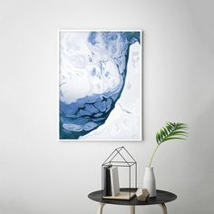 This painting with its azure blue shade is composed of fluid abstract forms, leaving the impression of meditation and summer vacations. Watery feeling, achieved through unsettled and liquid shapes, is perfect for minimalist designed interior overflown wit House Painting, Diy Painting, Painting Prints, Wall Art Prints, Paintings, Bright Walls, Pastel Palette, Scandinavian Prints, Minimalist Decor