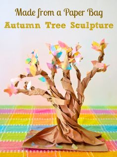 tree sculpture from a paper bag. Spray paint it black for a Halloween centerpiece