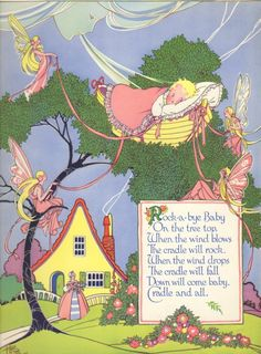Vintage Nursery Rhyme Print Rock-A-Bye Baby & Fairies Illustrated by Anne Rochester
