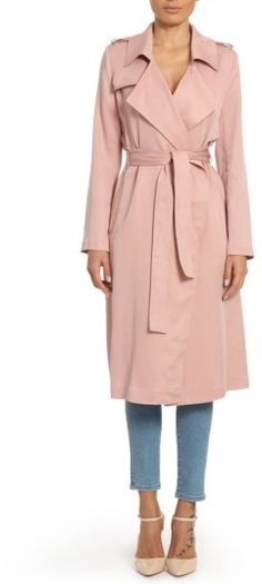 Women's Badgley Mischka Faux Leather Trim Long Trench Coat Blush Pink Outerwear      #afflink