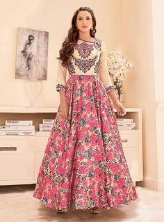 Gauhar Khan Pink Taffeta Silk Ankle Length Anarkali Suit 85827