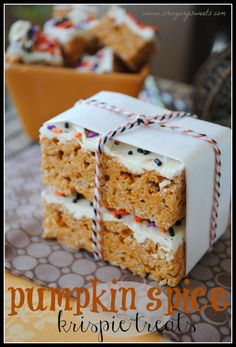 Pumpkin Spice Rice Krispie treats! I love Rice Krispies!