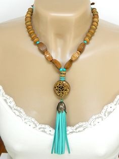 @stroncalli #Turquoise and #Brown Boho #Necklace Beaded Tassel Long Handmade - Blonde Peach Jewelry