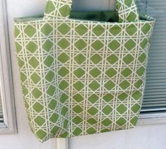 Green and White Lattice Tote by lovelylovedesigns on Etsy, $16.00