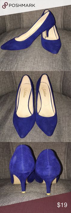 Blue suede like pumps Blue suede like pumps  Size 9, fits more like an 8.5 Worn 1x. Excellent condition! Julilee Shoes Heels