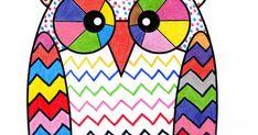 Un hibou coloré en s'exerçant au graphisme décoratif libre et au coloriage.