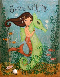 Mermaid Art  Print on Canvas Canvas Art for Kids  by HRushtonArt