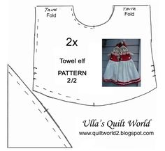 Towel elf and doll quilts + PATTERN  Pyyheliinatonttu + kaava