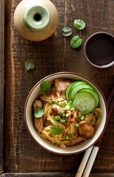 Roast Chicken and Mint Noodle Salad