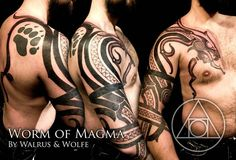 Worm of Magma tattoo by Walrus and Wolfe by Meatshop-Tattoo.deviantart.com on @deviantART