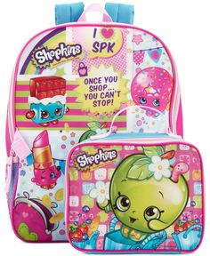"Global Design Concepts Little Girls' 16"" Shopkins Backpack with Lunchpack"