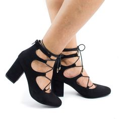 Walk in comfort and fashion in these ghillie lace up leg wrap heels, featuring a round toe, contrast stitching, adjustable laces, a back center zipper for easy wear and closure, a slightly padded inso