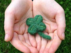 Shamrock Pin St. Patrick's Day Needle Felted by TheWanderingEwe, $9.00