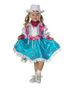 Rodeo Princess Dress-Up Set by Rubies - Ages 3-4 NWT White & Teal #Rubies