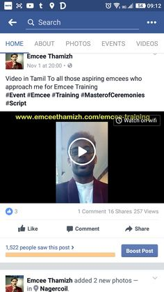 Video in Tamil To all those aspiring emcees who approach me for Emcee Training  https://m.facebook.com/story.php?story_fbid=1215212691870311&id=1058108034247445 #event #emcee #Training #MasterofCeremonies #Script
