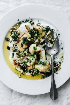Roasted Cauliflower with Pine Nuts, Parsley and Currants | TENDING the TABLE