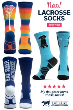 Just in time for the holidays, our NEW lacrosse socks have arrived! These comfy lax socks are made from our super soft and cozy performance blend, making them moisture-wicking and comfortable and supportive enough to wear all day, on and off the lacrosse field! Availabel in a variety of vibrant and fund designs, these stylish socks make the perfect stocking stuffer, Christmas gift, and more! #lulalax