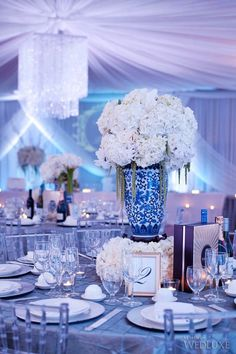 #Chinoiserie porcelain vases in shades of blue and milky white | Photography by Jasalyn Thorne Photographers | WedLuxe Magazine
