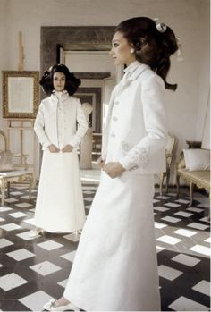 Marisa Berenson and another model in Valentino by Henry Clarke for Vogue, 1968  Pretty certain this photo was the prototype for star wars designs, hair included...