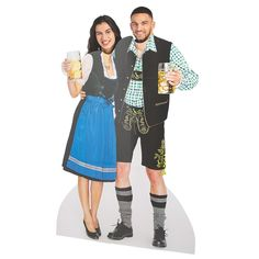 You don't have to go to Germany for Oktoberfest! This stand-in photo booth prop brings the party to any location. The cardboard cutout pictures and man . Octoberfest Costume, Octoberfest Party, Oktoberfest Beer, Oktoberfest Decorations, German Wedding, Photo Cutout, Photo Booth Props, Oriental Trading