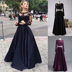 e0828a627f Shop discount Black Long Sleeve A-Line Bateau Floor Length Satin Two Piece  Prom Dress WNPD0422