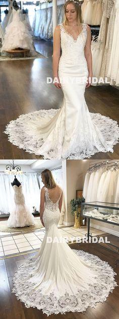 Long Mermaid V-Neck Wedding Dress, Lace Backless Satin Sleeveless Wedding Dress, D1053