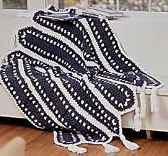 Blue and White Striped Crochet Afghan Pattern