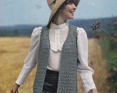 Womens vintage crochet pattern sleeveless vest jacket | Etsy Vintage Knitting, Vintage Crochet, Double Knitting, Double Crochet, Sleeveless Cardigan, Crochet Jacket, Retro Outfits, Vintage Jacket, Little Girl Dresses