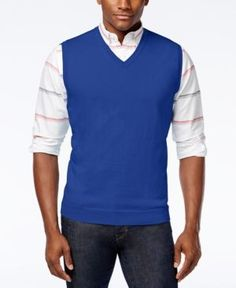 Club Room Men's Sweater Vest, Only at Macy's - Blue 3XL