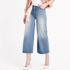 Wide-leg jeans are in, and we couldn't be happier. This pair is high-waisted with a cropped leg, so you can show off those brand-new shoes, and has all the retro cool of your favorite vintage pair