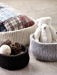 Free knitting pattern for Garter Ridged Baskets