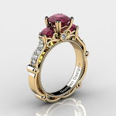 Classic Italian 14K Yellow Gold 1.5 Ct Deep Red by GormanDesigns