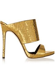 Giuseppe Zanotti Andrea metallic snake-effect leather mules