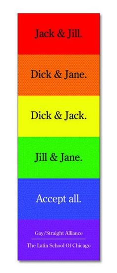 Bookmark by Broty Ad & Design for the Latin School of Chicago Gay/Straight Alliance