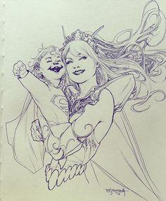 Kal-El and Lara by Stephen Segovia   #kryptonian #superman #dccomics #sketch