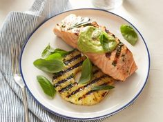 Get Grilled Salmon and Pineapple with Avocado Dressing Recipe from Food Network